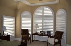 Interior, Window Shutters For Curved Windows And A Smaller Window In A Bedroom A Pair Of Chairs With Wood Side Table A Bedside Table With Table Lamp A Bed Furniture ~ The Guide How to Calculate the Plantation Shutters Cost