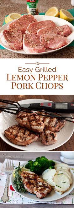 A perfectly grilled boneless pork chop seasoned simply with lemon pepper, lemon juice and olive oil. A quick and easy to make summer barbecue recipe that you'll want to make all year round.(Recipes To Try Pork Chops) Pork Rib Recipes, Barbecue Recipes, Grilling Recipes, Quick Recipes, Vegan Grilling, Quick Pork Chop Recipes, Keto Recipes, Vegetarian Barbecue, Tuna Recipes