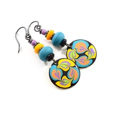 Handmade Earrings Paint and Resin Earrings Blue and Yellow
