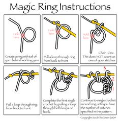 Magic Ring Illustration ~ also for leftiesMagic ring instructions for right handed and left handed crochet - featured in 20 more yarn hacks to make your next project even easierLearn how to do magic circle crochet, the magic ring, or the magic loop - Crochet Magic Circle, Magic Ring Crochet, Crochet Circles, Crochet Circle Pattern, Crochet Hearts, Crochet Gratis, Free Crochet, Knit Crochet, Learn Crochet