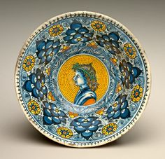 Deep bowl with Persian palmette ornament; in the center, a profile bust of a young man wearing a wreath  Probably Tuscan or National Gallery of Art, Washington  c.1490/1500  National Gallery of Art, Washington