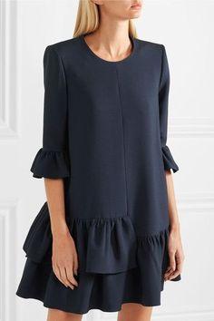 Alexander McQueen - Ruffled Wool-blend Mini Dress - Midnight blue