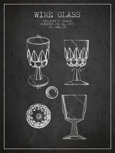 Wine Digital Art - Wine Glass Patent From 1977 - Charcoal by Aged Pixel Technical Illustration, Technical Drawing, Bar Pics, Charcoal Artists, Wine Glass, Glass Art, Cocktail Illustration, Wine Poster, Patent Drawing