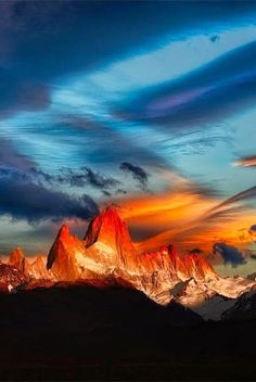 Sunset over the Patagonian Andes- Ruta a la Patagonia -