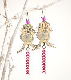 Boucles d'oreille oiseaux rose fuchsia et bronze