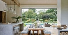 At Home With Chrissie Rucker, Founder of the White Company - Luxury Pool House Photos The White Company, Elle Decor, Pool House Interiors, Madeira Natural, Patio Furniture Sets, Maine House, Pool Houses, Modern Rustic, Architecture