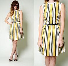 Vintage 60s 70s MOD geometric STRIPED print SHEATH dolly MIDI knee Shift Dress S | eBay