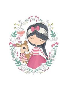 Art Print: Girl Vector/T-Shirt Print/Dear Vector/Animal Pattern/Animal Vector/Cute Girl Vector/Book Illustrati by StudioLondon : 24x18in