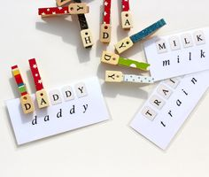 Spelling with Clothes pin letters