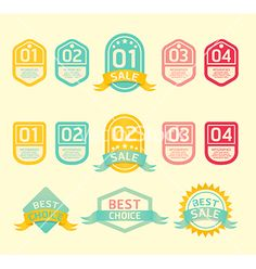 Modern soft color design label vector: label shape inspiration
