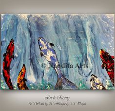 Coastal Painting, Impressive, koi fish, Blue Wall Decor Coastal Original Handmade, Contemporary art, Seascape animal painting, kids room art  #BlueWallDecor #KidsRoomArt #Impressive #OriginalHandmade #ocean #AbstractPainting #AnimalArt #ContemporaryArt #CoastalPainting #KoiFish