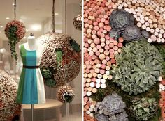 window display at Anthropologie using corks. I wonder how heavy those giant pomanders are...