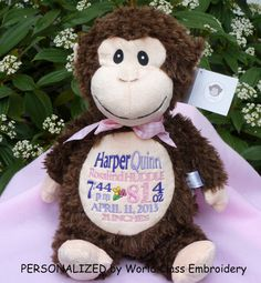 Embroidered baby gift monogrammed monkey birth announcement embroidered baby gift monogrammed monkey birth announcement personalized by world class embroidery monkey babies and gift negle Image collections