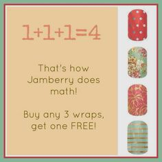 Jamberry always has a very special, special! Buy 3 and get one wrap sheet free!! Such a great deal!