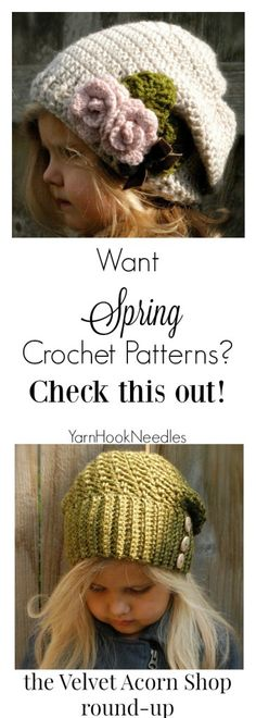 The Perfect Spring Time Beanie Patterns from the Velvet Acorn Shop (a round up) - YarnHookNeedles #affiliate