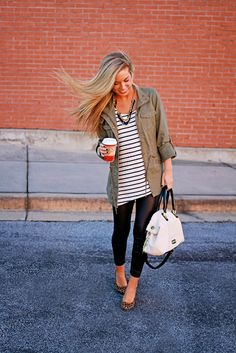 LOVEE. SUMMER/FALL: black leggings, stripped shirt, green jackets, leopard shoes, bold necklace, and white bag.