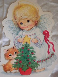 Vintage Christmas Decoration - Die Cut Wall Hanging - Angel and Kitten. $5.00, via Etsy.