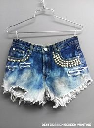 High Waisted jean shorts with rhinestuds denim