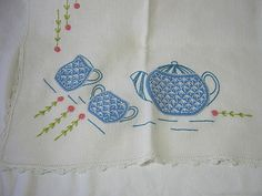 Vintage TEAPOT TABLECLOTH Embroidered!    by LavenderGardenCottage etsy