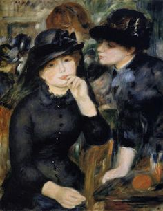 Painting by Pierre-Auguste Renoir Girls in Black, 1880, Renoir met Aline Charigot (his future wife), a young dressmaker of 20 years old then, in 1879, when the artist was nearly 40. She is the woman with the dog in the Luncheon of the Boating Party