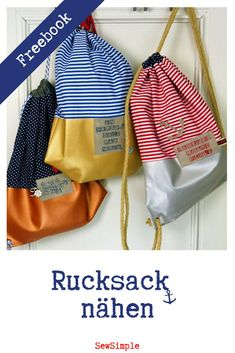 Maritimen Rucksack mit Kunstleder nähen: Näh-Anleitung (für Anfänger) FREEBIE: Backpacks are not only super practical – they are also totally hip. We'll show you how to quickly and easily sew a stylish maritime backpack with faux leather! Sewing Projects For Beginners, Knitting For Beginners, Knitting Projects, Diy Projects, Sewing Hacks, Sewing Tutorials, Sewing Tips, Couture Cuir, Backpacking For Beginners