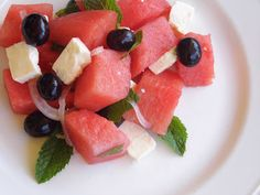 One Mother Hen: Watermelon Salad Watermelon Salad, Fruit Salad, Kitchen Recipes, Food, Fruit Salads, Eten, Meals