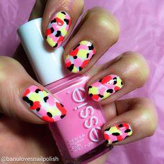 Pretty in pink camo nail art design using essie nail polishes -- the cutest mani!