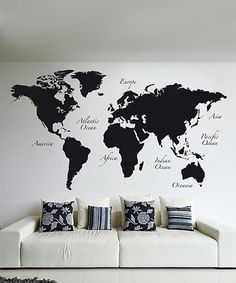 Turn your walls into a worldly display with this peel-and-stick map decal that includes continental name tags for educated style.