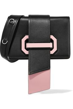 Prada | Ribbon Plexi two-tone textured-leather shoulder bag | NET-A-PORTER.COM