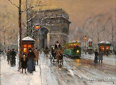 Edouard Leon Cortes (1882-1969) - Paris: L'Arc de Triomphe, Place de l'Etoile
