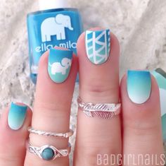 Blue Gradient with Elephant Accent nails nailart