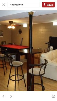 Great Idea On Turning Those Basement Support Poles Into Mini Tables For A Rec Room