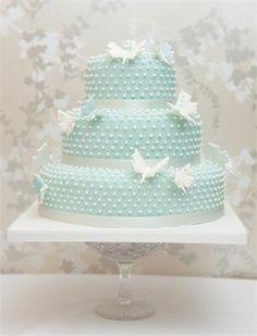 Beautiful aqua dotted swiss cake