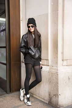 London chic - Alexander Wang jacket and top, Zara shorts, Topshop sunglasses and hat, and H&M shoes..