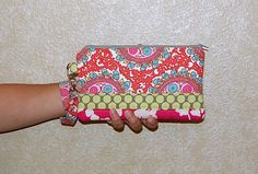 Cameo Patchwork - Clutch Wristlet with Removable Strap and 2 Interior Pockets