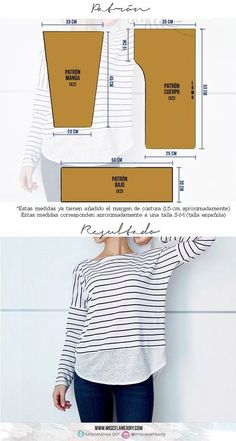 33 Ideas Sewing Patterns Tops Diy For 2019 Sewing Blouses, Sewing Shirts, Women's Blouses, Blouse Pattern Free, Top Pattern, Free Pattern, Pattern Ideas, Sewing Patterns Free, Clothing Patterns