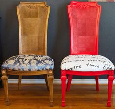 Traditional cane-backed dining chair transforms into a fun and funky eclectic chair with a little red paint and reupholstered seats.  Great before and after shot!