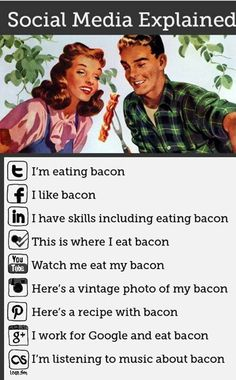 Social Media Explained Simply Using Bacon [infographic]. Bacon makes everything better - even explainations of social media . Social Media Humor, Le Social, Social Media Marketing, Social Networks, Marketing Ideas, Social Media Explained, Haha, La Red, Just For Laughs
