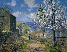 Cherry Blossoms by The Delaware - Edward Willis Redfield