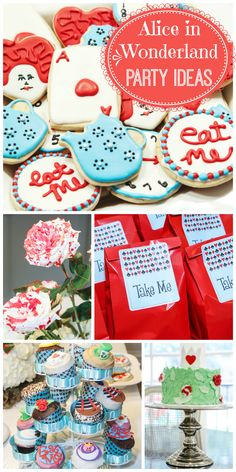 A gorgeous Alice in Wonderland party with painted roses, fondant cupcakes, party favors and decorated cookies!  See more party ideas at CatchMyParty.com!