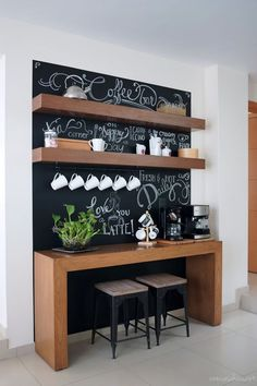 coffee station Before and after: Amazing chalkboard coffee bar Coffee Bar Station, Home Coffee Stations, Tea Station, Coffee Bars In Kitchen, Coffee Bar Home, Coffee Nook, Coffee Coffee, Coffee Bar Design, Sweet Home
