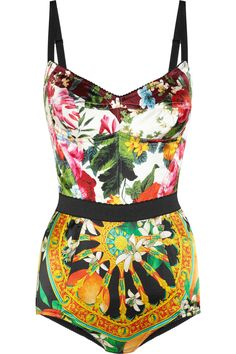 Dolce & Gabbana printed stretch-satin bodysuit, so pretty, I love the colours in this.
