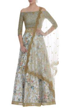 Shop Neha Mehta Couture Off- shoulder blouse & lehenga set , Exclusive Indian Designer Latest Collections Available at Aza Fashions Blouse Designs Silk, Choli Designs, Bridal Blouse Designs, Indian Wedding Outfits, Indian Outfits, Off Shoulder Lehenga, Fancy Crop Top, Lehnga Dress, Lehenga Blouse