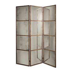 Uttermost 13364 P Avidan Three Panel Mirrored Room Divider