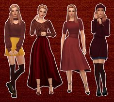 Hogwarts Houses - Gryffindor - Lookbook I've been a fan of Harry Potter since the books came out when I was in elementary school (I just aged myself) and with the recent launch of the incredible... Sims Four, Sims 4 Mm, Cc Fashion, Fashion Outfits, Sims 4 Cas Mods, Harry Potter Dress, Maxis, Sims 4 Dresses, Sims 4 Characters