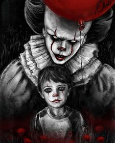 Scary Drawings, Dark Art Drawings, Art Drawings Sketches, Penny Wise Clown, Evil Clowns, Scary Clowns, Scary Movies, Horror Movies, Desenhos Halloween