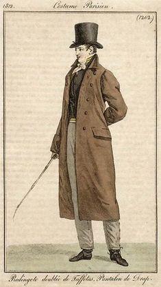 Men's redingote, 1812.