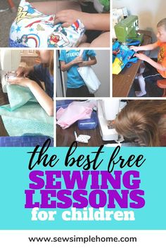 Teach your young child or teen to sew with these simple sewing lessons for kids that include lessons and project ideas. Easy Kids Sewing Projects, Sewing Machine Projects, Sewing For Kids, Sewing Basics, Sewing Hacks, Basic Sewing, Sewing Tips, Hand Sewing, Sewing Crafts