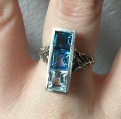 Items similar to SALE The Indigo Ring- Sky, Swiss and London Blue Topaz in Sterling on Etsy Peridot, Amethyst, Indigo Plant, Long Sleeve Evening Gowns, Mood Indigo, London Blue Topaz, White Topaz, Sterling Silver Rings, Rings For Men