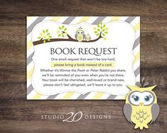 Help stock the new babys library with wonderful childrens books! Insert a book request card with each invitation mailed. Turn each book into a Baby Girl Shower Themes, Gender Neutral Baby Shower, Baby Shower Fun, Owl Shower, Shower Ideas, Owl Books, Unisex Baby Shower, Pink Owl, Baby Owls